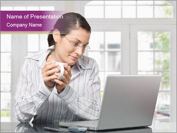 Businesswoman Reading News PowerPoint Template