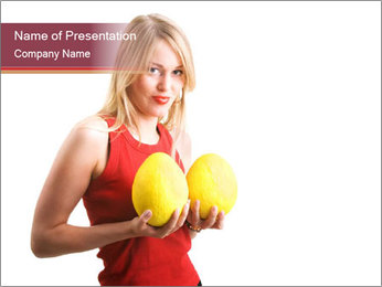 Woman Holding Two Melons PowerPoint Template