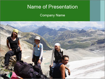 Three Friends Hiking PowerPoint Template