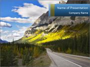 Road Leading to Mountains PowerPoint Templates