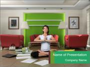 Woman Meditating at Home PowerPoint Templates