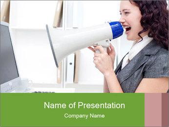 Mad Woman Screaming in Loudspeaker PowerPoint Template