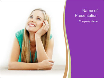 Young Woman Dreaming PowerPoint Template