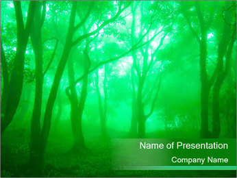 Green Mystic Forest PowerPoint Template
