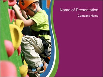 Boy at Climbing Center PowerPoint Template