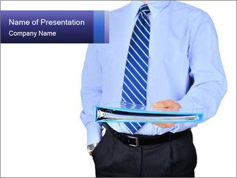Businessman Holding Folder PowerPoint Template