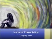Painting of Lonely Girl PowerPoint Templates