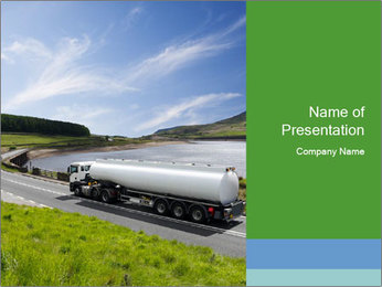 Tanker Truck on the Road PowerPoint Template