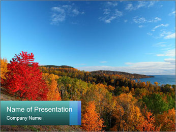 Lake Shore During Autumn Season PowerPoint Template