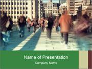 Pedestrians Hurry to Work PowerPoint Templates