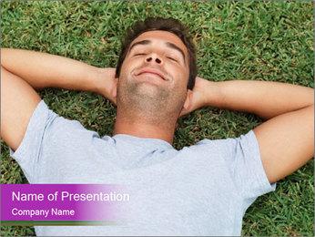 Happy Man Lying on Grass Modèles des présentations  PowerPoint