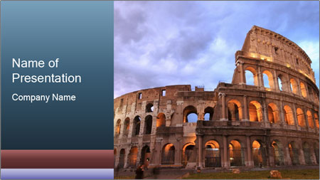 impressive colosseum in rome powerpoint template backgrounds