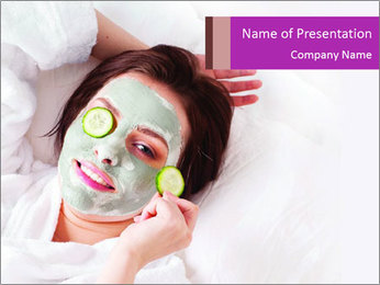 Woman in Cleansing Clay Mask PowerPoint Template