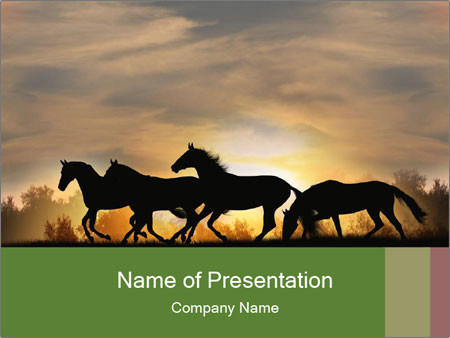 Silhouette Of Wild Horses Powerpoint Template Backgrounds Google