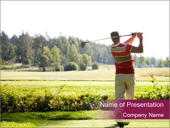 Rick Man Playing Golf PowerPoint Template