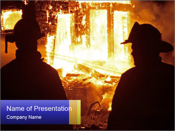 Firemen Standing in Front of Burning House PowerPoint Template