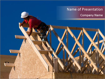 Man Building Roof PowerPoint Template