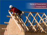 Man Building Roof PowerPoint Templates