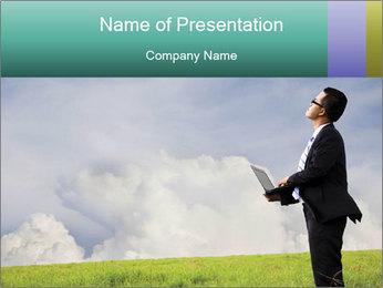 Asian Businessman in Green Meadow PowerPoint Template