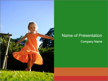 Small Girl in Red Summer Dress PowerPoint Template