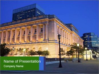 Evening Downtown in Ohio PowerPoint Template