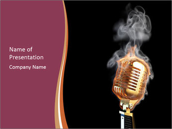 Burning Stage Microphone PowerPoint Template