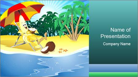 cartoon banana on vacation powerpoint template backgrounds google