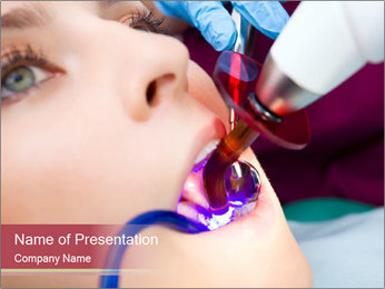 Dentist Using Ultraviolet Lamp PowerPoint Template
