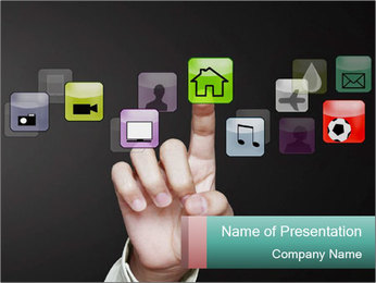 Icon on Touch Screen PowerPoint Template