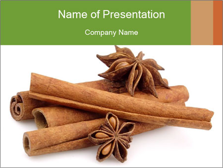 sticks of cinnamon with anise powerpoint template & backgrounds id, Presentation templates