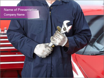 Mechanic at Auto Repair Service PowerPoint Template