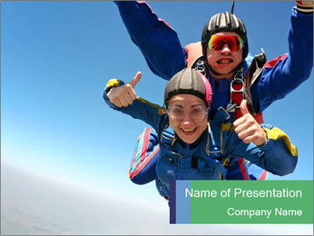 Couple Parachuting PowerPoint Template
