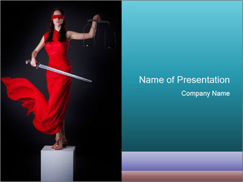 Justice Woman in Red Dress PowerPoint Template