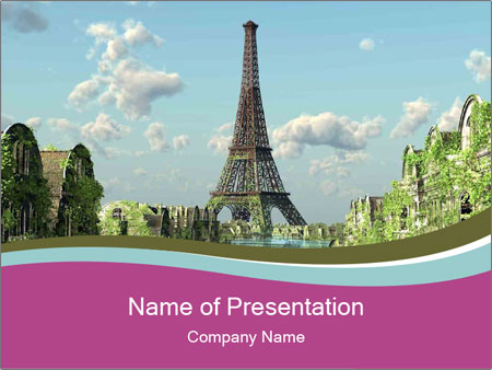 sightseeing in paris powerpoint template & backgrounds id, Modern powerpoint