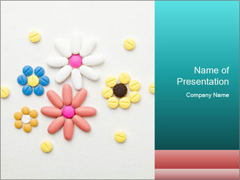 Flowers Made of Colorful Pills PowerPoint Template