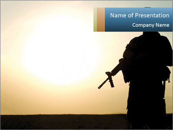 Silhouette of American Soldier PowerPoint Template