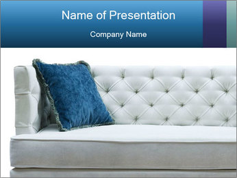 White Sofa with Blue Pillow PowerPoint Template