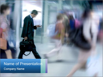 Businessman Walking the Street PowerPoint Template