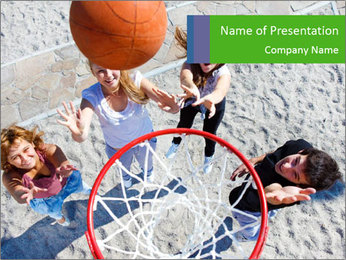 Friends Playing Basketball PowerPoint Template