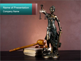 Statue of Justice in the Court PowerPoint Template