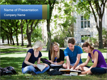 College Mates Study Outdoors PowerPoint Template