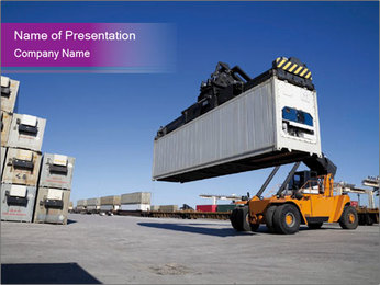 Crane Loading Huge Container PowerPoint Template