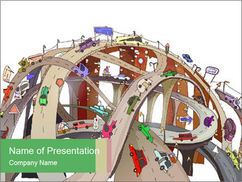 3D Road Junction PowerPoint Template