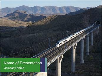 Train Crossing High Bridge PowerPoint Template