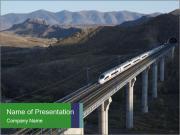 Train Crossing High Bridge PowerPoint Templates