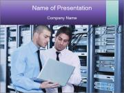 Two IT Engineers in Data Center Шаблоны презентаций PowerPoint