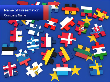 puzzle parts retresenting european union powerpoint template, Modern powerpoint