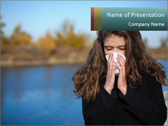 Sneezing Girl with Tissue PowerPoint Template