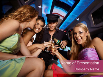 Friends Drinking Champagne in Limo PowerPoint Template