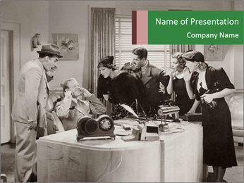 Old Call Center PowerPoint Template